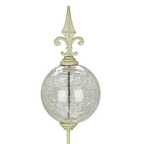 Posiwio Rosenkugel Orleans weiß aus Metall Glaskugel mit Rankstab Gartendeko Shabby