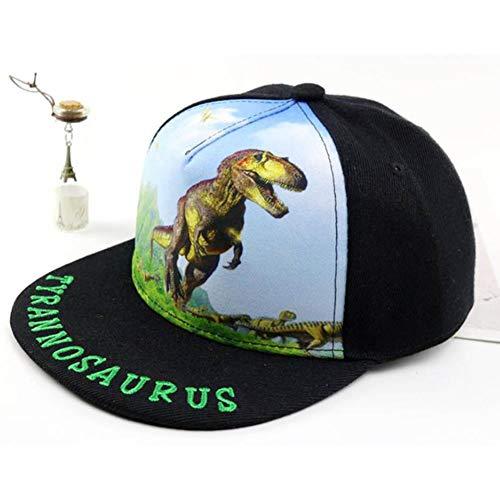 UKKO Baseball Cap Kind Baseballmütze Hip Hop 2 Bis 8 Jahre Alte Kinder Sonnenhut Printed Dinosaurier-Jungen-Mädchen Caps Hysteresenhüte,Schwarz,2 Bis 8 Jahre Alt