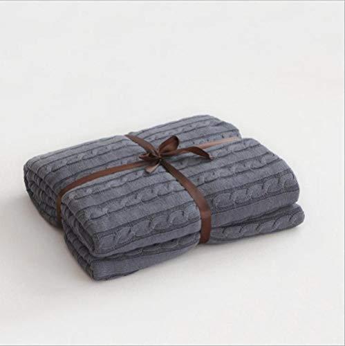 Einfarbige Decken Bettbezug Soft Throw Decke Tagesdecke Bettwäsche Gestrickte Decke Klimaanlage Bequeme Schlaf Tagesdecken, Rauchgrau, 180x200cm