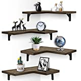EACHPAI Corner Floating Shelves Wall Mounted Set of 4, Rustic Wood Wall Storage Shelves for Bedroom, Living Room, Bathroom, Kitchen, Office and More