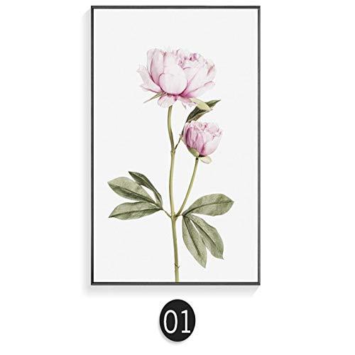 Geiqianjiumai Nordic groene poster blad bloem rose canvas schilderij muur kunst poster afdrukken woonkamer muurschildering Scandinavische decoratie
