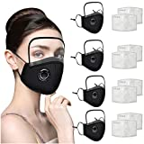 Cagogo USA Fast Delivery 4PCs Adults Face Màsc Washable Reusable with Breathing Valvefilter Face Bandanas with 8Pcs Filter Replaceable + Detachable Eye Shield
