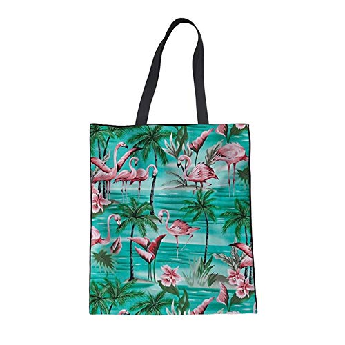 ZXXFR Katoenen tas voor dames, shopping, toilettas, leuke cartoon, flamingo's Cloud print, herbruikbare tassen, casual, grote eco-tas