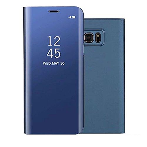 Sycode Screen Protector Blu Slim Fit Transparente Standing View Specchio Wallet Portafoglio Custodia per Samsung Galaxy S7-Blu