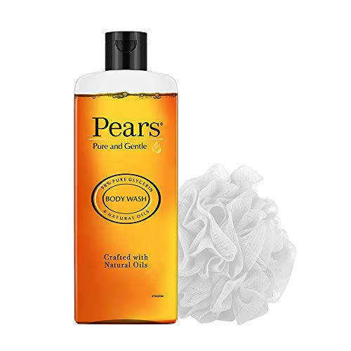 Pears Pure & Gentle Shower Gel With 98% Pure Glycerine, 100% Soap Free And No Parabens, 250ml with (Free Loofah)