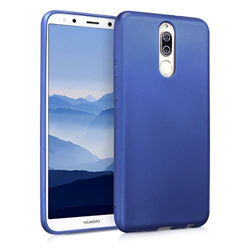 kwmobile Funda para Huawei Mate 10 Lite - Carcasa para móvil en TPU Silicona - Protector Trasero en Azul Metalizado