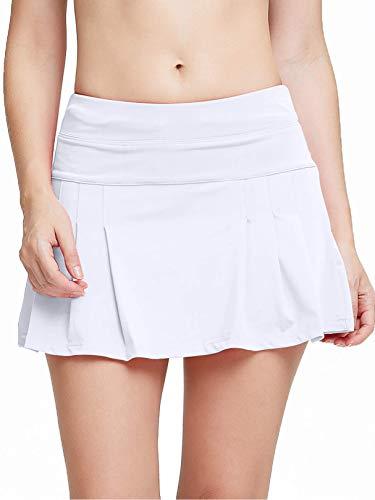 siyecaoo Donne Gonna da Tennis Sportiva da Donna Ca Minigonna con Tasche Laterali Golf Corta Pantaloni da Donna Bianco S