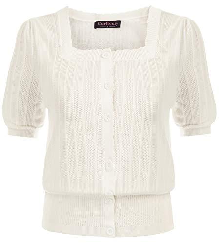 Camisa Vintage de Punto Manga Corta Abullonada con Escote Cuadrado para Mujer XL Marfil