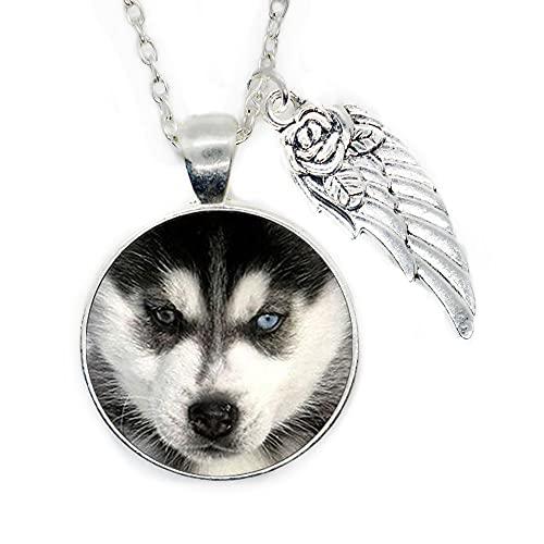 Husky Collar de cachorro Husky colgante pequeño Husky joyería collar cúpula de cristal, joyería única, PU127