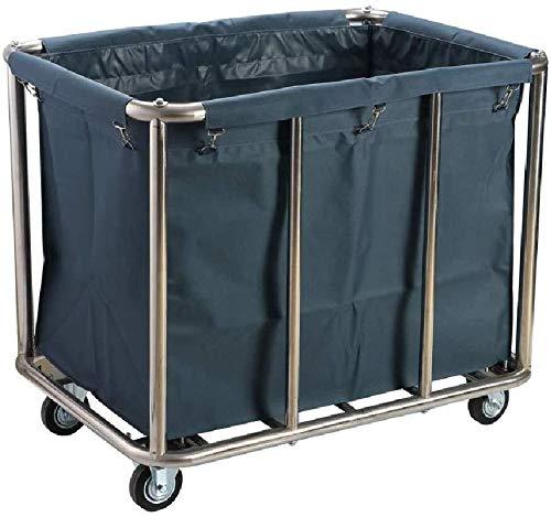 Wasserij sorteren car Commercial Beauty Clinic wasmand Sorter Kar met wieltjes, roestvrijstalen Huishoudelijke Dienst Utility Trolley met Bag (Dienst rolwagen (Color : Blue)