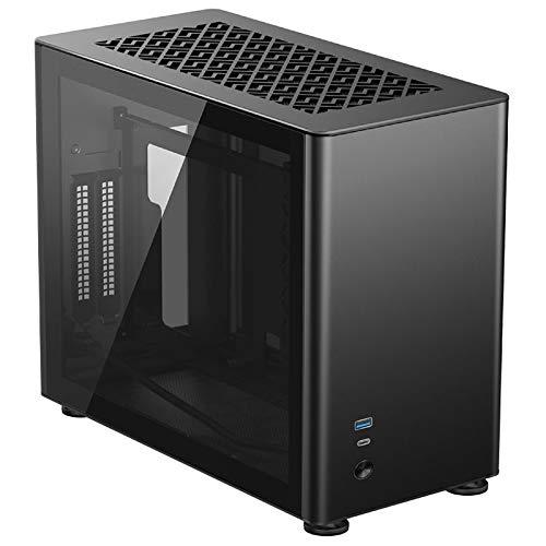 Jonsbo A4 Mini-ITX Gehäuse - Kompaktes PC-Gehäuise - Tempered Glass - Mini-ITX - Aluminium - Schwarz