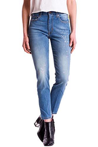 Meltin'Pot - Jeans MAREG D0158-AB437 für Frau, Tapered Stil, eng passend, hoher Bund, mit farbflecken