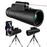 Telescopio monocular 12x50 HD de alta potencia con trípode para adultos, niños, observación de aves, monocular con linterna LED infrarroja, soporte para teléfono y noche, brújula para trípode para ac