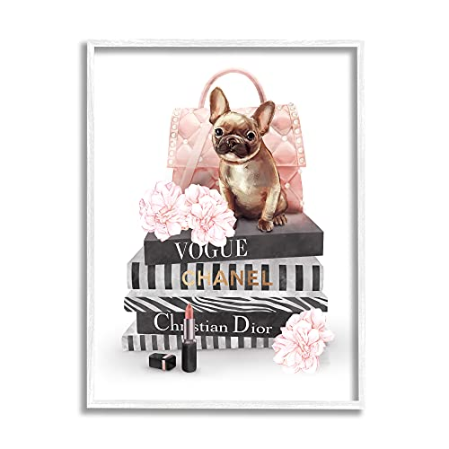 Stupell Industries Glam Bookstack Quilted Pink Purse French Bulldog, Designed by Ziwei Li White Framed Wall Art, 11 x 14, Multi-Color