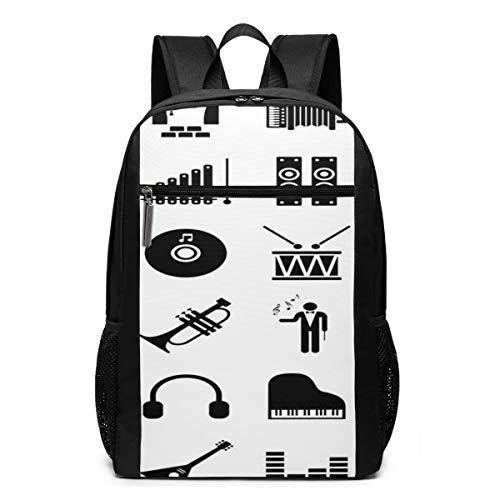 Schulrucksack Symbol Klaviermusik Piktogramm, Schultaschen Teenager Rucksack Schultasche Schulrucksäcke Backpack für Damen Herren Junge Mädchen 15,6 Zoll Notebook