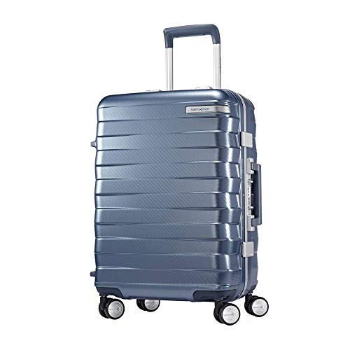 Samsonite 111170-1432 Framelock Hardside Carry On Luggage with Spinner Wheels 20 Inch Ice Blue Bundle w/Deco Gear Luggage Accessory Kit (10 Item)