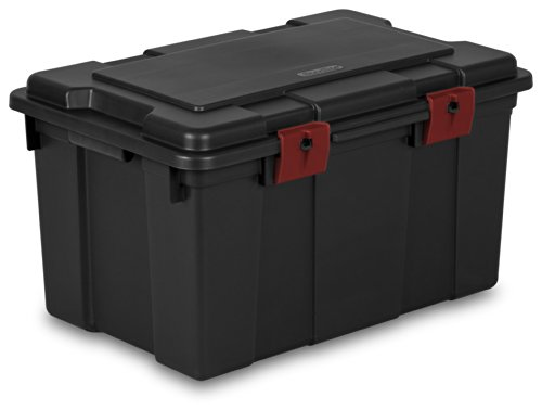 Sterilite 18419004 16 Gallon/61 Liter Storage Trunk, Black with Racer Red Latches, 4-Pack