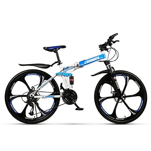 GAOXQ Telaio in Alluminio per Mountain Bike da 26 Pollici 21/24/27/30 velocità per Uomo con Freno a Disco Idraulico, Forcella Ammortizzata con Blocco Telaio da 18/19,5 Pol White Blue-27 Speed