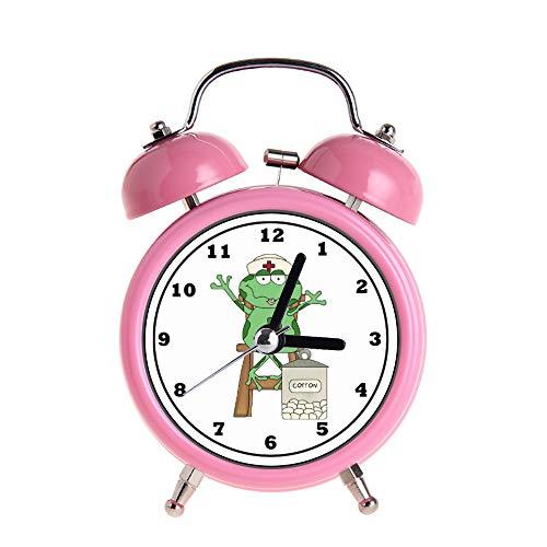 PAEEG Kinder Wecker Vintage Retro Silent Pointer Uhren Runde Nummer Dual Bell Loud Pink Wecker Nachtlicht Home Dekore Cartoon Krankenschwester Frosch 28. Mai Armbanduhr