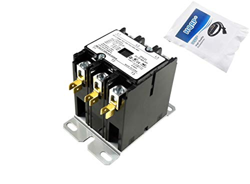 HQRP Three Pole / 3-Pole 40 Amp Coil 24-Volt AC Contactor HVAC Definite Purpose Relay Compatible with C25DNF340T 42CF35AJBCE CR453AD3HAA 3100Y30Q10999 400-DP40NJ3 8910DPA43V14, UL Listed