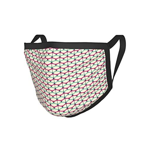 Formas elípticas abstractas retro en forma repetida patrón curvo ilustraciones geométricas impresión multicolor borde negro máscara.máscara de tela
