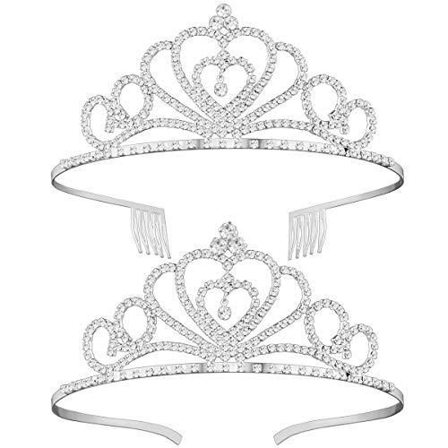 Frcolor Rhinestone Crystal Tiara Crown, 2Pack Wedding Bridal Prom Birthday Pegeant Prinecess Tiara Headband
