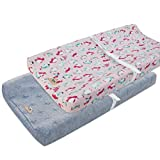 BlueSnail Plush Super Soft and Comfy Changing Pad Cover Change Table Cradle Bassinet Sheets with Straps for Baby 2-Pack (Pink Penguin+Gray)