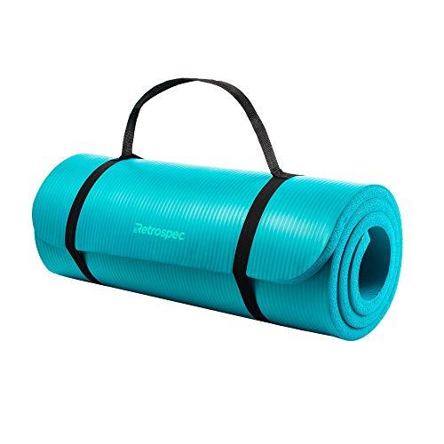 Retrospec Solana Yoga Mat 1' Thick w/Nylon Strap for Men & Women - Non Slip Excercise Mat for Yoga, Turquoise, 1 inch