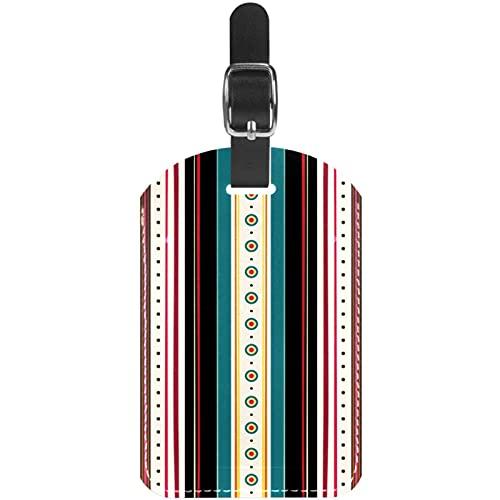 Antiguo Retro Raya Etiquetas de Equipaje Lindo Cuero Personalizado con Lazo para Bolsa de Maleta de Viaje casmonal para Mujeres, Hombres y niños 11.4x7.1cm