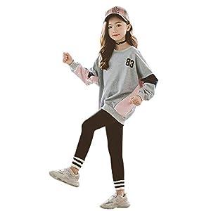 HurBer子供服 女の子 ジュニア スポーツウェア 上下 2点セット キッズ 長袖 ゆったり トップス レギンス 幼稚園 小学生 通園通学 ルームウェア (グレー,150cm)