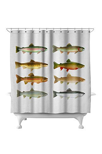 Lantern Press Trout Species Illustration A-9009274 (71x74 Polyester Shower Curtain)
