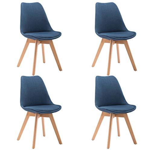 vidaXL 4X Sillas Comedor Estilo Nórdico Tapizado Tela Estructura Patas Madera Maciza Diseño Moderno Escandinavo Asiento Acolchado Suave Respaldo Azul