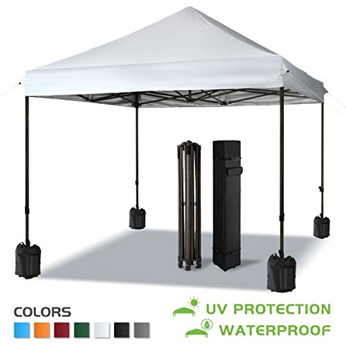 COMOOO Pop Up Tent Canopy 10x10 Outdoor Party Backyard Beach Tent Portable Camping Instant Canopy with Wheeled Carry Bag, 4 Canopy Sand Bags,and Tent Stakes, White