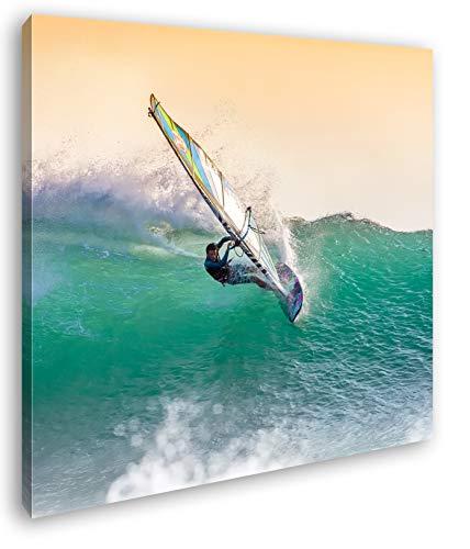 deyoli sportlicher Windsurfer Format: 60x60 als Leinwandbild, Motiv fertig gerahmt auf Echtholzrahmen, Hochwertiger Digitaldruck mit Rahmen, Kein Poster oder Plakat