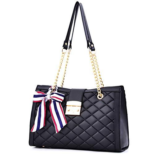 Modische Handtasche mit Ledergriff, gesteppt, mit Kettenriemen, für Damen, Schwarz, Größe M