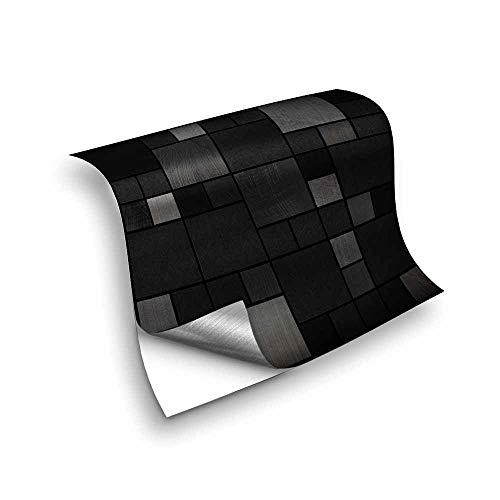 Hiseng 25 Piezas Adhesivos Decorativos para Azulejos Pegatinas para Baldosas del Baño/Cocina Estilo de Mosaico de Metal Resistente al Agua Pegatina de Pared (Cuadrado Negro,10x10cm)
