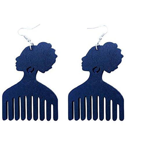 Afro Pick Wood Earrings (Black)