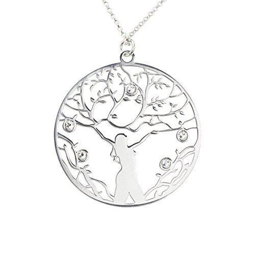 AKA Joyas - Colgante Mujer Árbol de la Vida y Cristales Swarovski Collar Plata de Ley 925, Mod. Potencia Femenina, Regalo para mama y niña