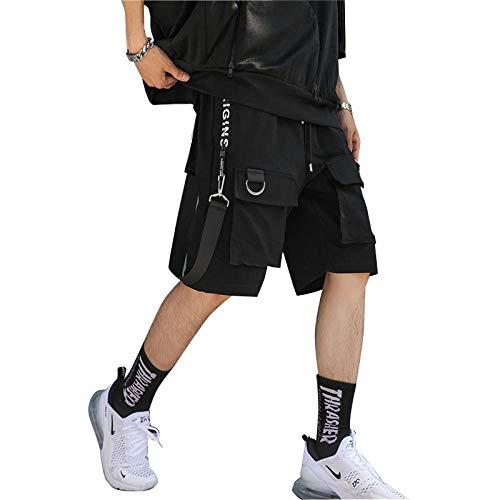 Sommer Multi-Tasche Männer Cargo-Shorts Elastische Taille Street Beiläufige Kurze Jogger -Black_XL