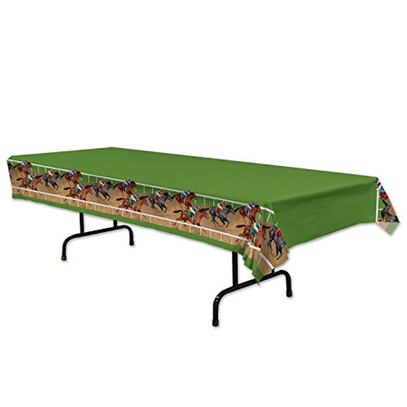 Beistle Horse Racing Tablecover, 54 by 108-Inch, Multicolor