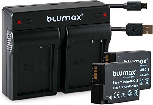 Blumax 2X Akku ersetzt Panasonic DMW-BLC12 / DMW-BLC12-E 1100mAh + Mini Dual-Ladegerät USB   kompatibel mit Lumix DMC: G5   G6   GX8   G70   G81   GH2   FZ200   FZ300   FZ1000   FZ2000   Leica V-Lux 4