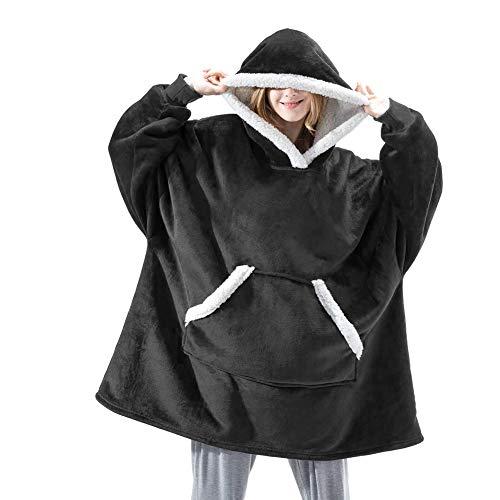 ISAKEN Manta Tipo Sudadera, Sudadera Unisexo con Capucha Ultra Plush Manta con Capucha de algodón y Forro Polar, Suave y Cálida, para Casa/Oficina