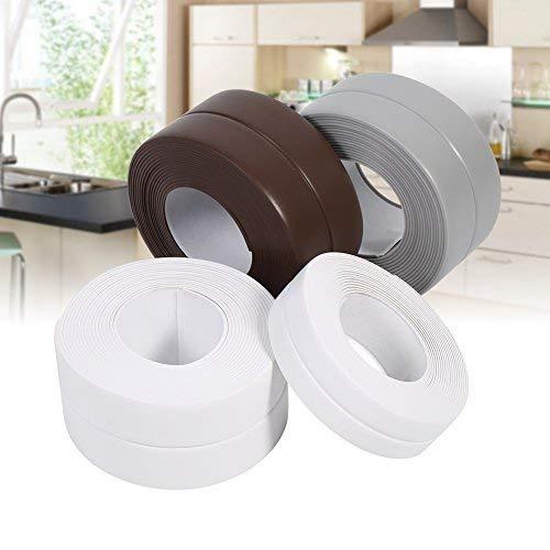 Wasserdicht Dichtungsband, 2 Stück x 3,2m Länge PVC Selbstklebend Dichtungsband für Küche, Badezimmer, Wand, Waschbecken, 22 mm x 3,2 m, weiß