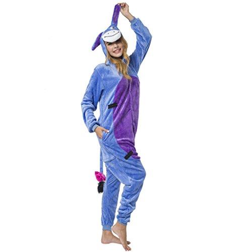 Katara-(10+ Modelos) Kigurumi Pijamas Disfraz Animal Halloween Adultos, Color burro, Talla 165-175cm (1744) , color/modelo surtido