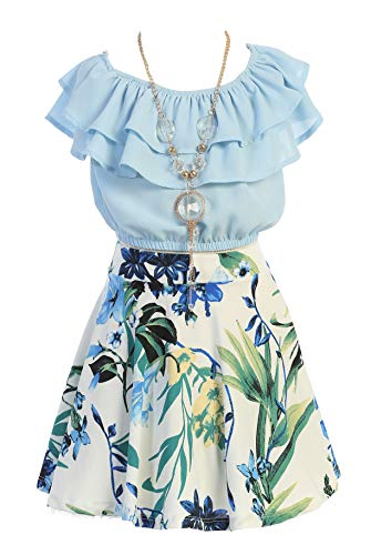 Cold Shoulder Crop Top Ruffle Layered Top Flower Girl Skirt Sets for Little Girl Ice Blue W 4 JKS 2130S