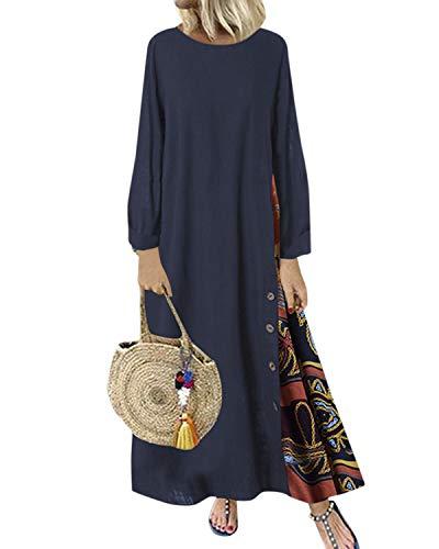 ZANZEA Women's Long Sleeve Round Neck Cotton Floral Print Boho Patchwork Casual Loose Maxi Long Dresss Navy S