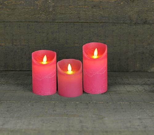 Coen Bakker 3er Set Kerze LED Echtwachskerze 10 cm + 12,5 cm + 15 cm Kerze Ø 7,5 cm viele Farben mit Timer flackender Docht Wachskerze Kerzen, Farbe:Fuchsia