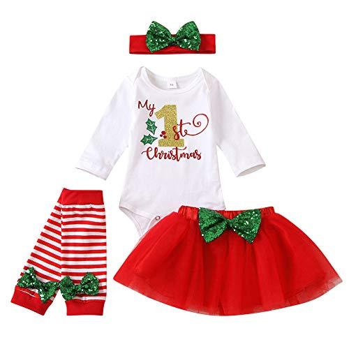 Xifamniy Baby Girls My 1st Christmas Outfit Newborn 4Pcs Bodysuit Headband Legging Socks Set (Xmas-1st, 3-6 Months)