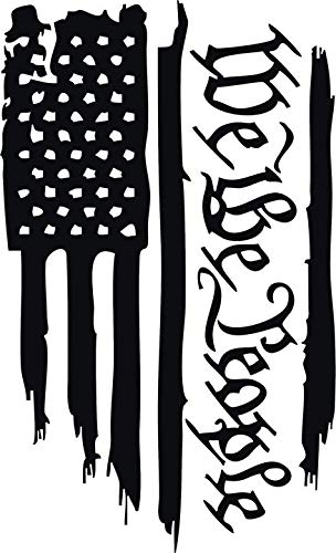 WE The People American Flag Vinyl Decal Sticker for Window ~Car ~ Truck~ Boat~ Laptop~ iPhone~ Wall~ Motorcycle~ Helmets~ Gaming Console~ Size 7.30' X 12' Reflective Black