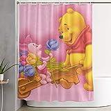 eneric Lustiger Stoff-Duschvorhang Winnie The Pooh & Ferkel wasserdichtes Badezimmer-Dekor mit Haken 60 x 72 Zoll